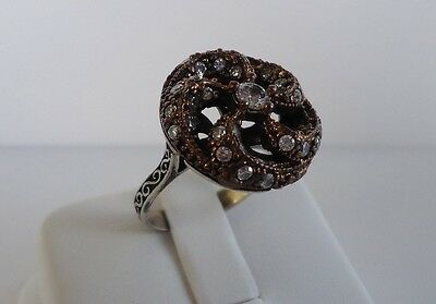 925 STERLING SILVER LADIES VINTAGE RING W/ 1 CT  MAN MADE DIAMONDS  SIZE 8