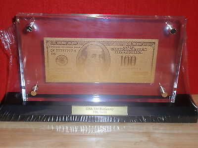 $100 Dollar Bill made of pure 999.9 GOLD w.Display TWO SIDED!