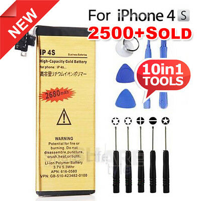 High Capacity 2680mAh For Apple iPhone 4S Replacement Battery Gold Tools Kit