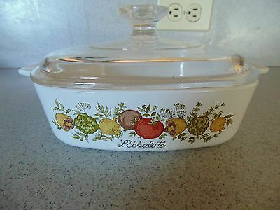 Corning Ware Spice of Life 1 Qt quart Casserole Dish A-1-B With Pyrex A7CLid