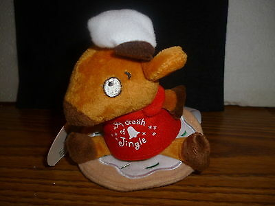 Hallmark Bag Cookie Time Zip-A-Long Reindeer Pull the Cord -Off He Goes NEW