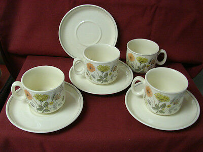 Vintage J.G.Meakin, Ironstone, Trend Hedgerow Set of 4 cup and saucer(s)