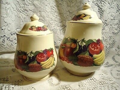 Pair of Vintage ceramic Canisters Fruits & Vegetables design (as is) Lid  *A4C*