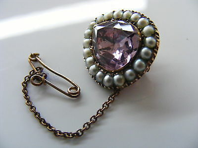 Antique Georgian Foiled Natural Amethyst and Seed Pearl 18 K Gold Brooch