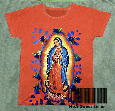 New Vintage Retro T-shirt Top Tee Orange Holy Virgin Mary and Child Madonna