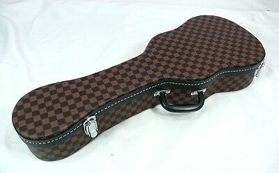 Concert ukulele hard case, Square pattern, Brown color, very beautiful**