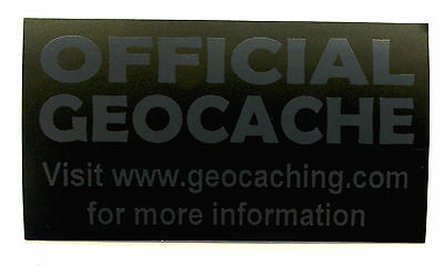 3 x Cache stickers for Geocaching gray print on matt black sticker