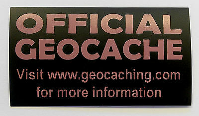 3 x Cache stickers for Geocaching pink print on black sticker