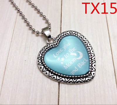 """Handmade""""I LOVE YOU""""metal/glass heart necklace for family.lovers 17''#BB48"""