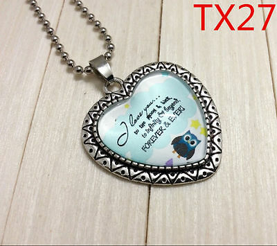 """Handmade""""I LOVE YOU""""metal/glass heart necklace for family.lovers 17''#BB60"""