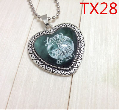 """Handmade""""I LOVE YOU""""metal/glass heart necklace for family.lovers 17''#BB61"""