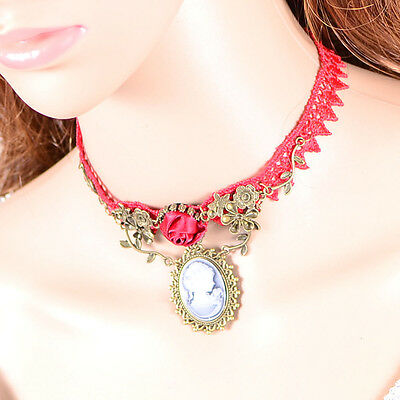 Sweet Lolita Lace Necklace Victorian Pendant Alloy Rose Flower Design Choker Hot