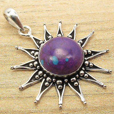 Trends 2014 ! Natural PURPLE COPPER TURQUOISE SUN Pendant ! 925 Silver Plated