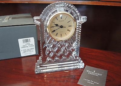 Waterford Crystal Large Gold Face Mantle Carriage Clock - Mint - NIB
