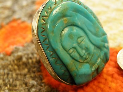 "1 1/2 "" Sterling Silver Carved Turquoise Madonna ring - Dan Dodson  - adjustable"