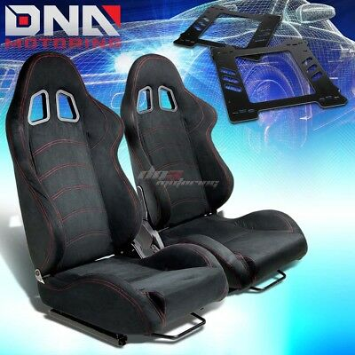 For 92-99 Bmw E36 2-Dr Bracket+Type-1 Black Suede Racing Seat Reclinable X2