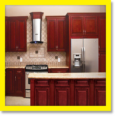 """96"""" Kitchen Cabinets Cherryville All Wood Cherry Stained Maple Group Sale KCCH10"""