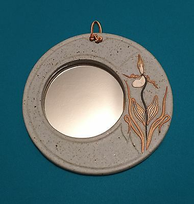 Bier Pottery Ceramic Mirror Orchid Motif Handmade, Signed & Dated