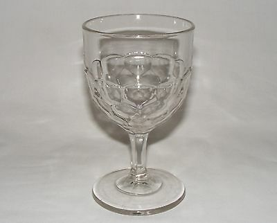 """ANTIQUE C. 1890  EARLY AMERICAN PRESSED GLASS 5.75"""" HONEYCOMB WATER GOBLET Eapg"""