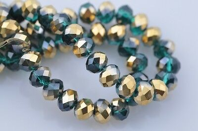 50pcs 8mm Rondelle Faceted Crystal Glass Loose Spacer Beads Half Green & Gold
