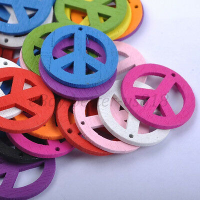 30pcs Mixed Colour WOOD Peace Sign Spcer Charms Jewelry Making 23MM B426