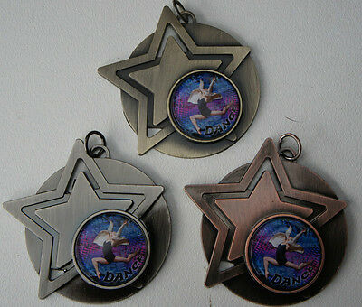 1 x STAR DANCING MEDAL,TROPHY, 50mm,Gold,Silver or Bronze + ribbon-engraving