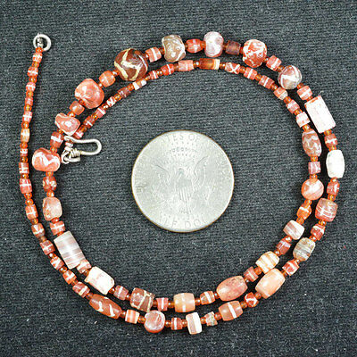 Ancient Pyu Etched Carnelian 84 Beads Top Necklace 05