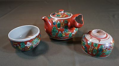 "Very Fine Japanese Meiji Period Kutani ""Mokubei"" Tea Pot Set 3 PCS Signed"
