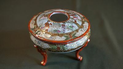 Beautiful Fine Japanese Meiji Period Kutani Hair Gathering Lidded Bowl Signed