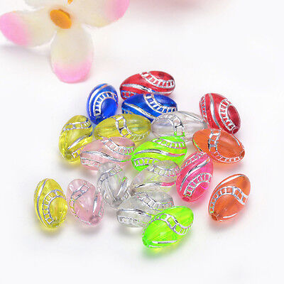 13x8mm  30pcs transparent mix color acrylic olive Charms for SPACER Beads Y122