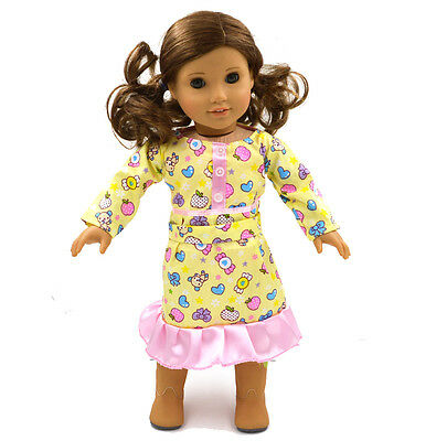Fashion Handmade Skirt Fit 18''American Girl Doll Clothes Yellow Party Dress