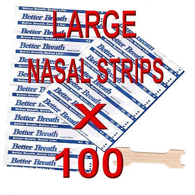 100 Large Nasal Strips Anti Snore, Breath Easy For Sports , Colds 100% Drug Free