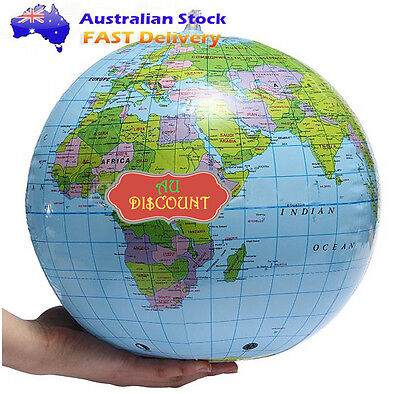 Inflatable Inflate World Globes Map Atlas Pool Beach Ball Teacher Earth Toy Blow
