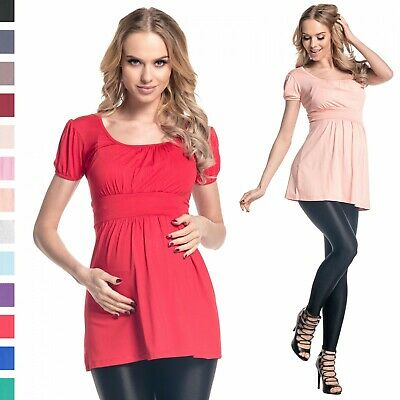 Happy Mama. Women's Maternity Stretch Short Sleeve Tunic Top Size UK 10-18. 408p