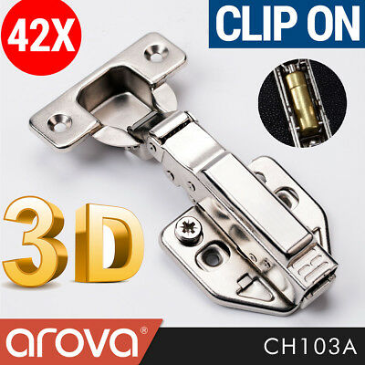 42X Concealed Soft Close Cabinet Hinges Full Overlay Clip on Cupboard Hydraulic