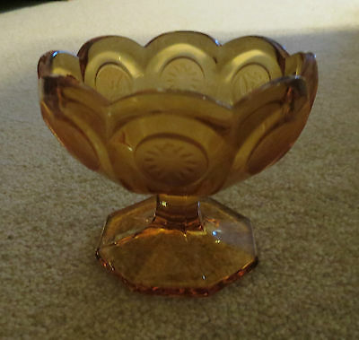 Fostoria Amber Coin Dot  Pedestal/Footed Compote/Candy Dish