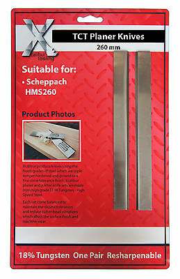 SCHEPPACH PLANERS 1 PAIR CARBIDE TIPPED PLANER BLADES KNIVES : 260 x 18 x 3mm