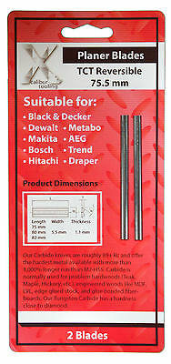 2 x 75mm TCT REVERSIBLE Black & Decker, Bosch CARBIDE PLANER BLADES