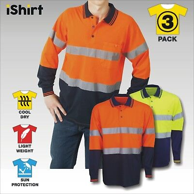 3 X Hi Vis Polo Work Shirt Reflective Tape Cool Dry Breathable Safety Workwear