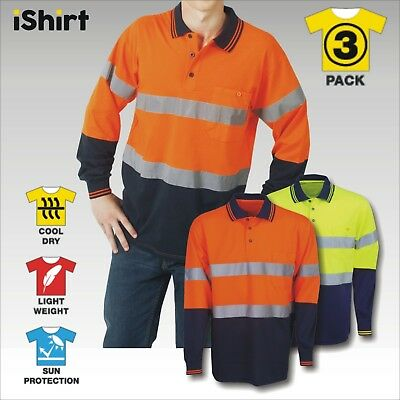 3X Hi Vis Polo Shirt Cool Breathable Micromesh Reflective Long Sleeve Workwear