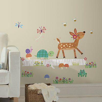 BABY WOODLAND ANIMALS LOG Giant Wall Stickers DEER White Tree Decals Room Decor
