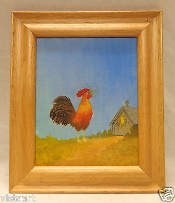 oil painting on canvas rooster looking up w smooth wood frame 11x13
