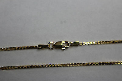 "14Kt 14K Yellow Solid Gold 16"" 18"" 20"" 24"" 1.3mm Box Necklace Chain Lobster"