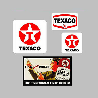 4 TEXACO GAS AND OIL  DECALS  STICKERS