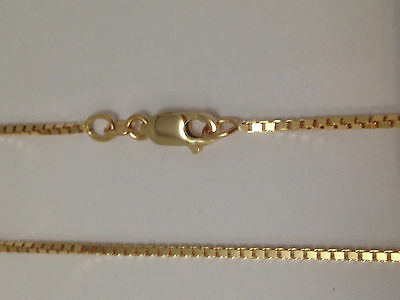 "14Kt 14K Yellow Solid Gold 16"" 18"" 20"" 24"" 1.0mm Box Necklace Chain Lobster"