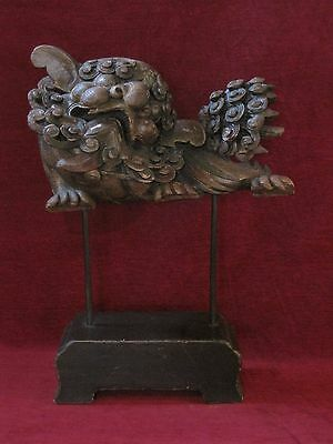 Antique Asian Foo Dog-Lion-Dragon Temple Guard Wood Carved Architectural Element