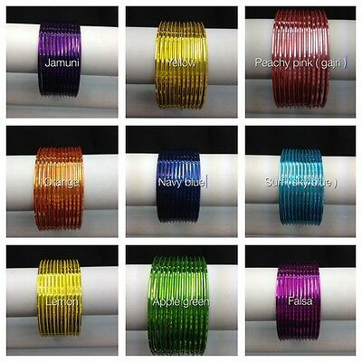 Indian Bangles 12 psc plain Good Quality Gloss Finish Glass Looking Metal Bangle