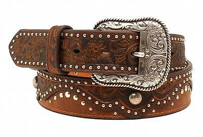 Ariat Western Womens Belt Leathe Embossed Square Buckle Brown A1526802