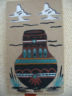 VINTAGE AMERICAN  INDIAN  .WASE- SAND  ART.
