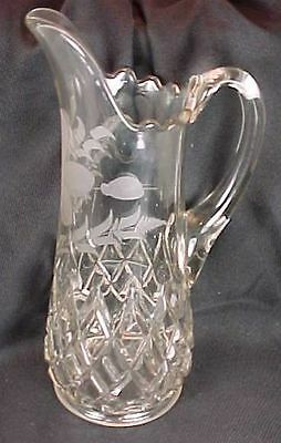 EAPG Findlay Glass Block & Double Bar Pitcher Large Size Cut Etched Flower Ohio